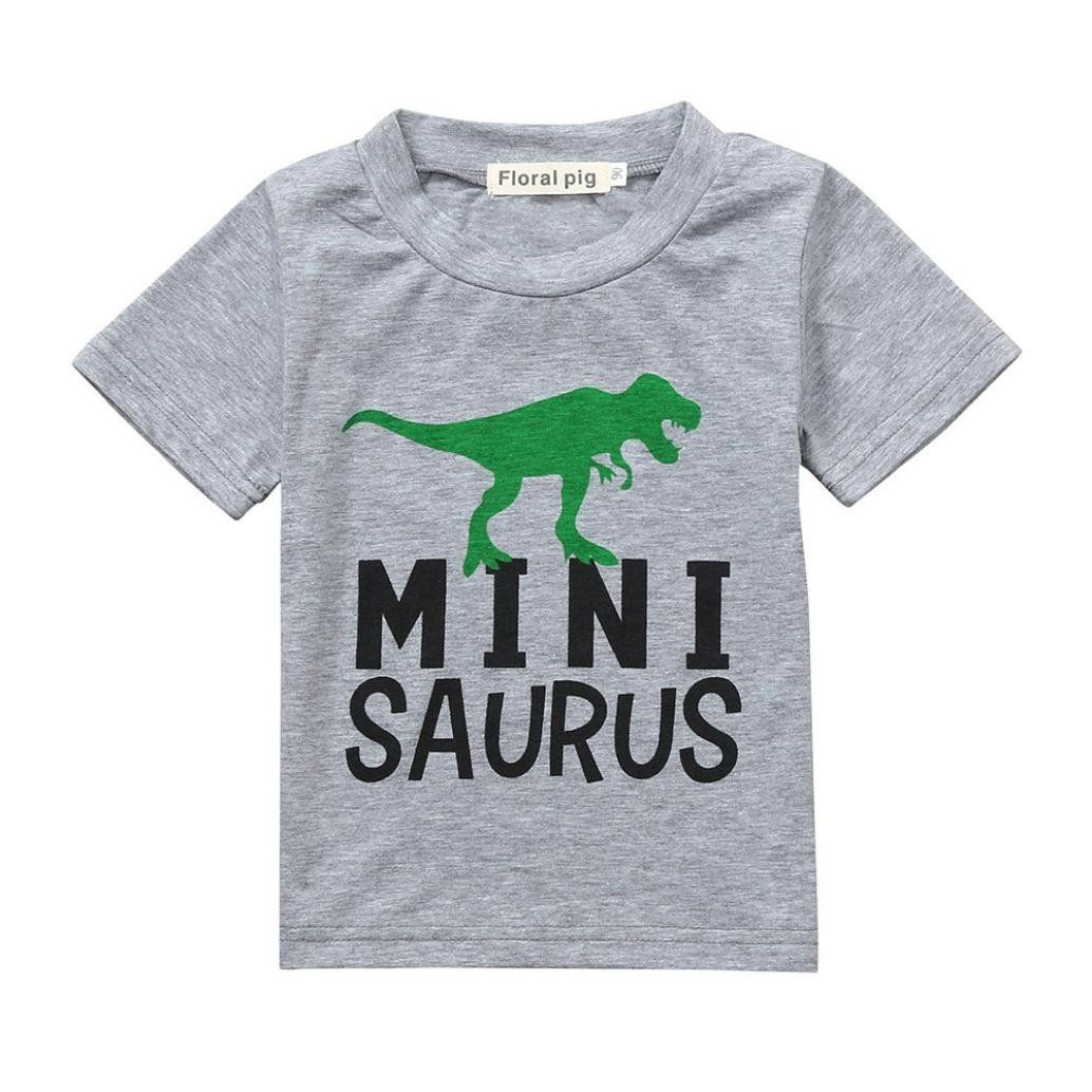 931f43b7cad21 Pollyhb Baby Boys Girls Tops Infant Boys Girls Letter Dinosuar Print T Shirt  Family Outfits Clothes6 Months 3 Years 1218 Months Gray     Information  could ...