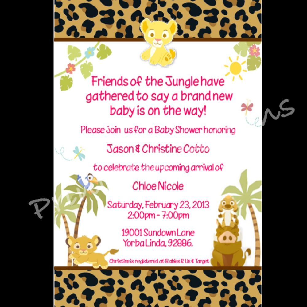 Baby Lion King Baby Shower Invite Printableedesignss@gmail.com ...
