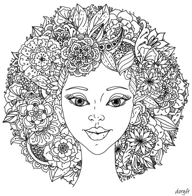 Dessin Gratuit à Imprimer Un Visage Avec Chevelure Fleurie
