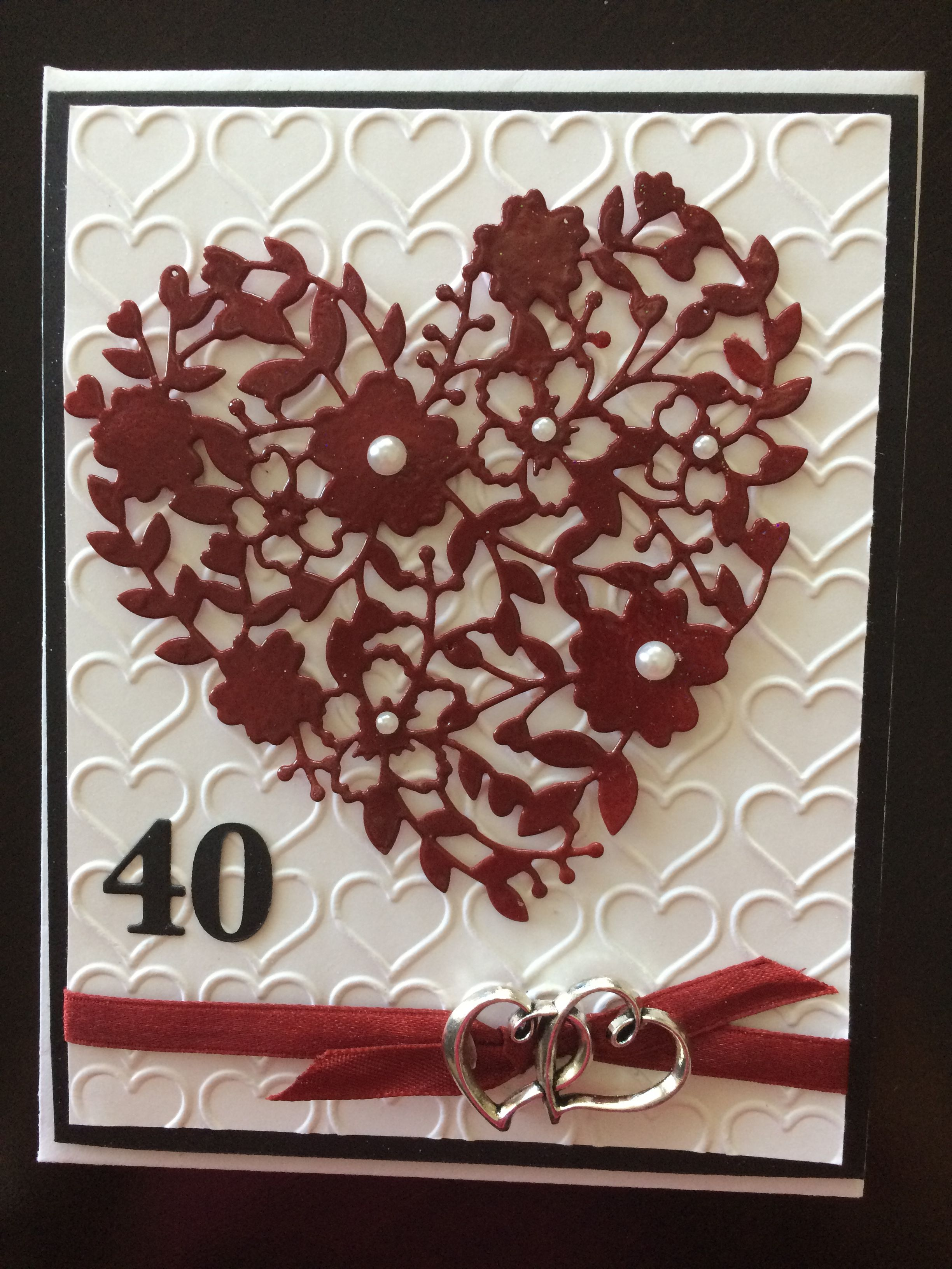 What Gift For 40th Wedding Anniversary: Bloomin' Heart Thinlit For 40th Anniversary, Ruby