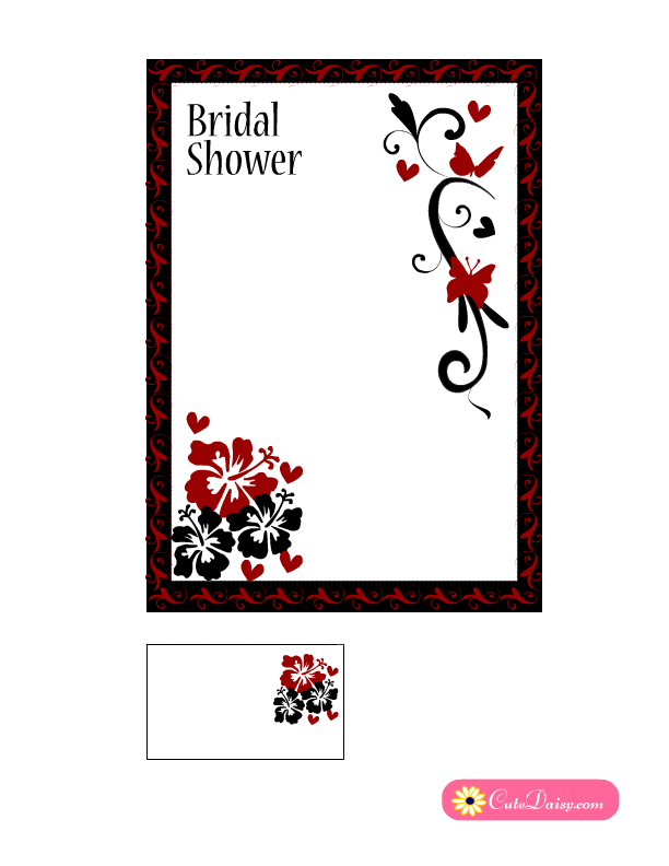 black and red bridal shower invitation with flowers square version