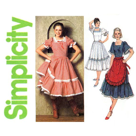 Square Dance Dress Pattern Uncut Bust 34 Simplicity 9103 1970s Barn Ruffles Full Skirt Half A Womens Vintage Sewing Patterns
