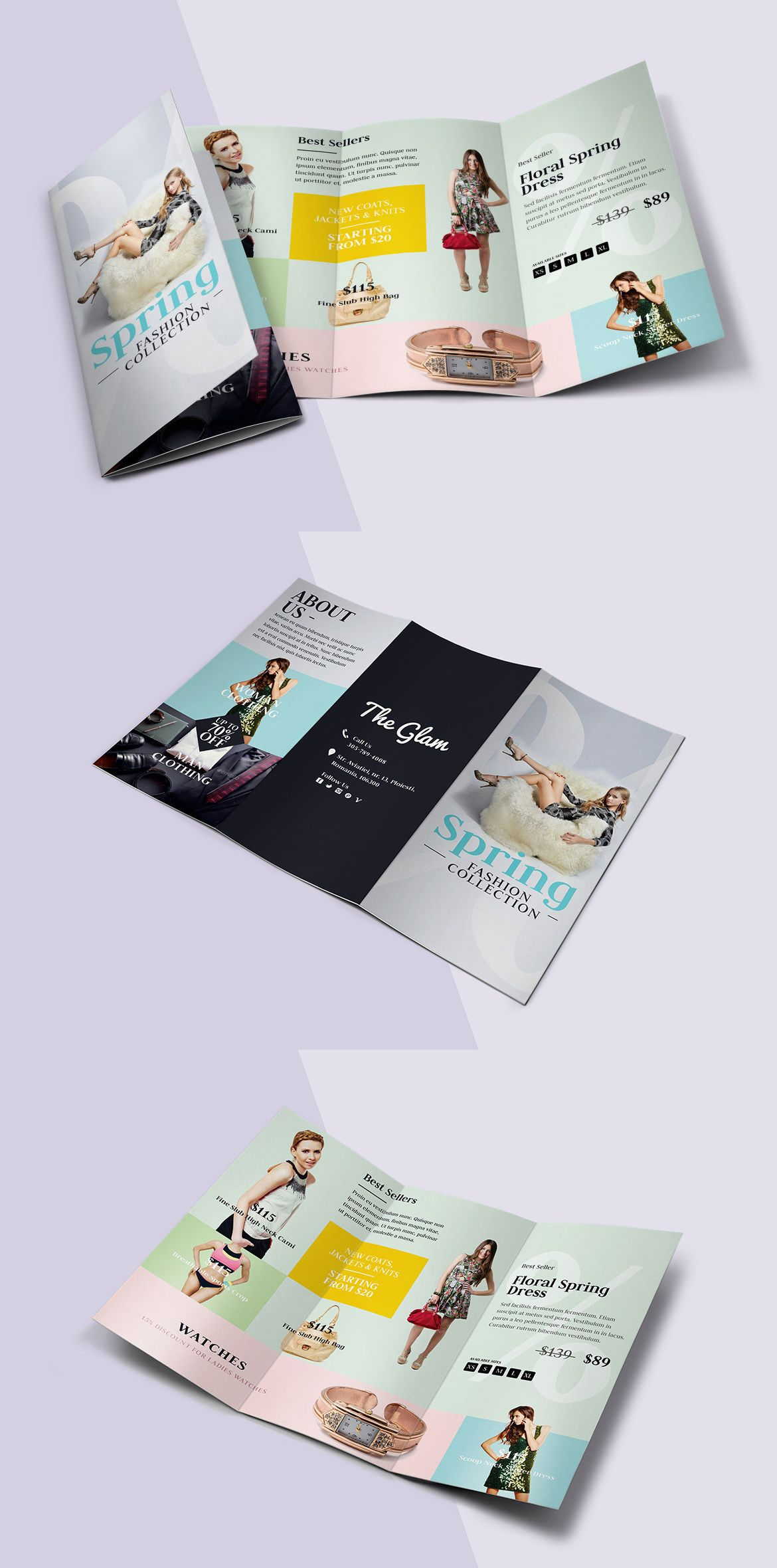 Fashion TriFold Brochure Template Psd  Brochure Templates