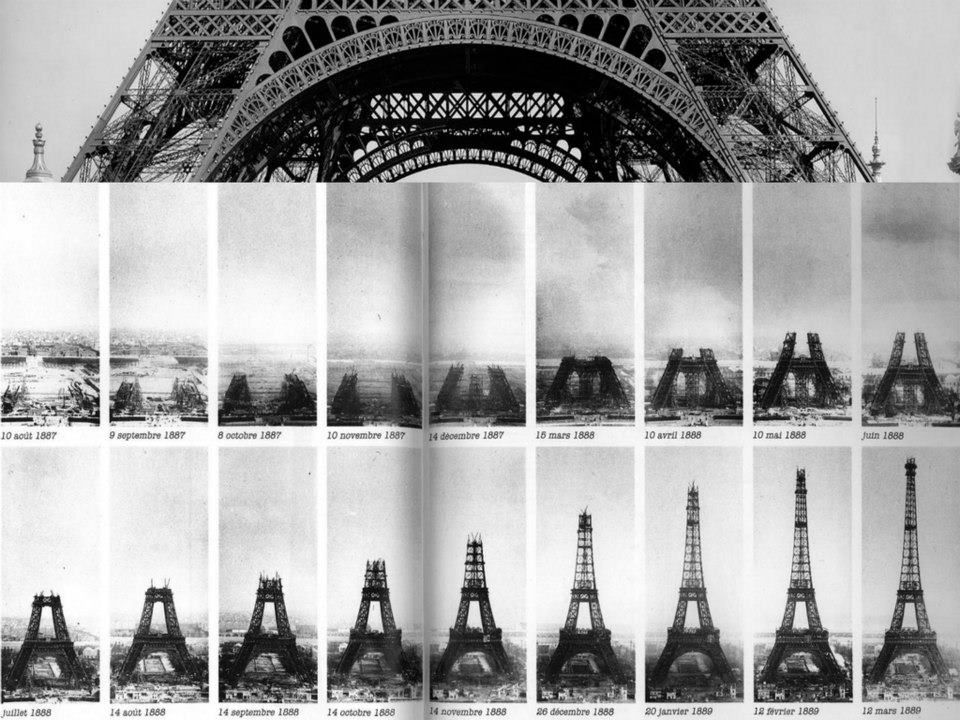 Eiffel Tower Construction Timeline, 1887 - 89 A Blanco y Negro - construction timeline