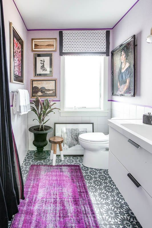 eclectic glam purple bathroom makeover best bathroom on interior paint color combination ideas id=77231