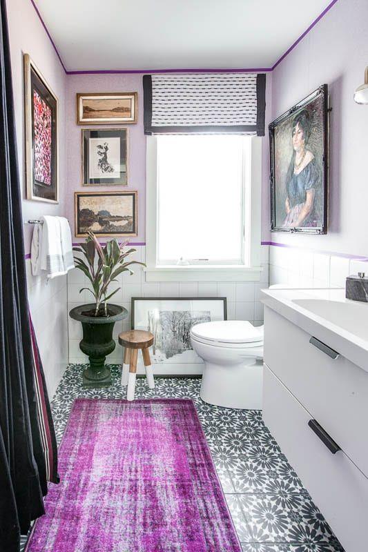 eclectic glam purple bathroom makeover best bathroom on interior paint scheme ideas id=79423