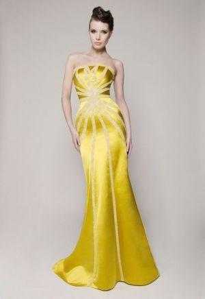 فستان اصفر طويل Yellow Fashion Gorgeous Gowns Beautiful Gowns