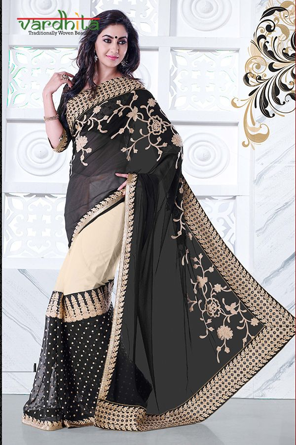 Black & cream color bamberg georgette fabric designer saree comes with black color net & dupion fabric blouse.Blouse can stitched up to size 44.  http://www.vardhita.co.uk/product/black-cream-color-bamberg-georgette-saree-46-4468/