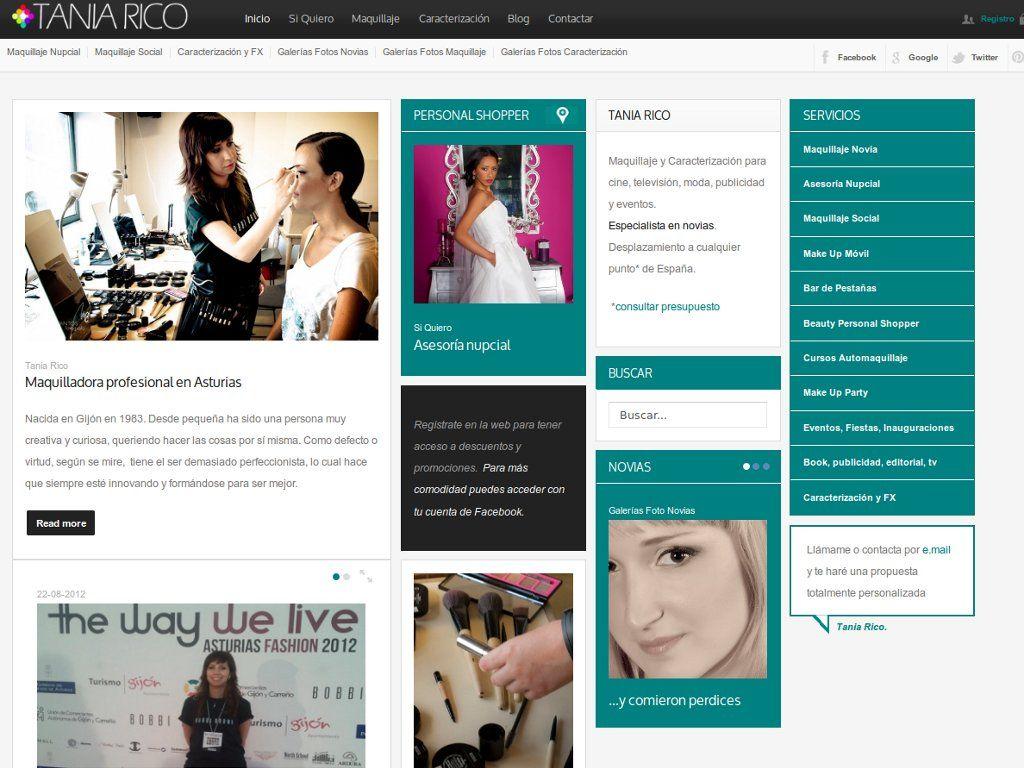 web para la maquilladora Tania Rico  www.taniaricomaquilladora.com