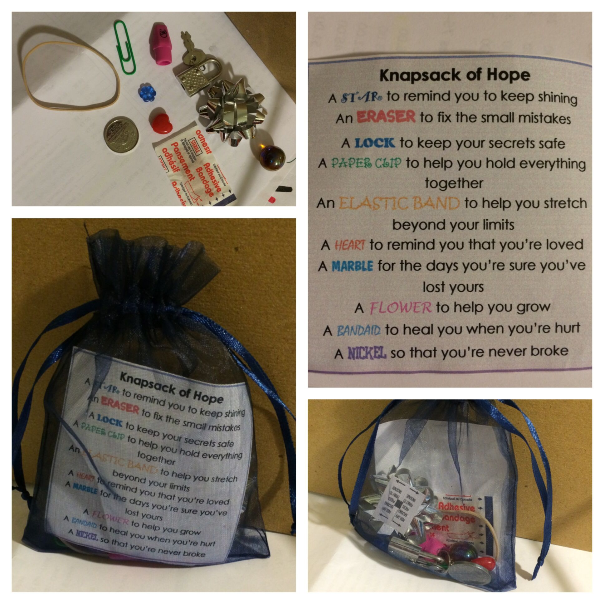 Knapsack Of Hope Can Use Any Small Pouch Ziplock Bag