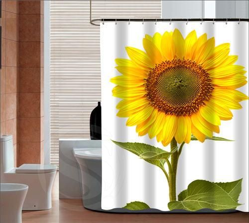 Beautiful Sunflower Bathroom Shower Curtain Made Of Polyester Size 72X79inches 72X72inches