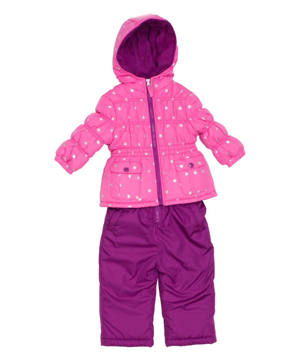 9214a985f90a Look what I found on  zulily! Pink Foil Star Snowsuit - Infant ...