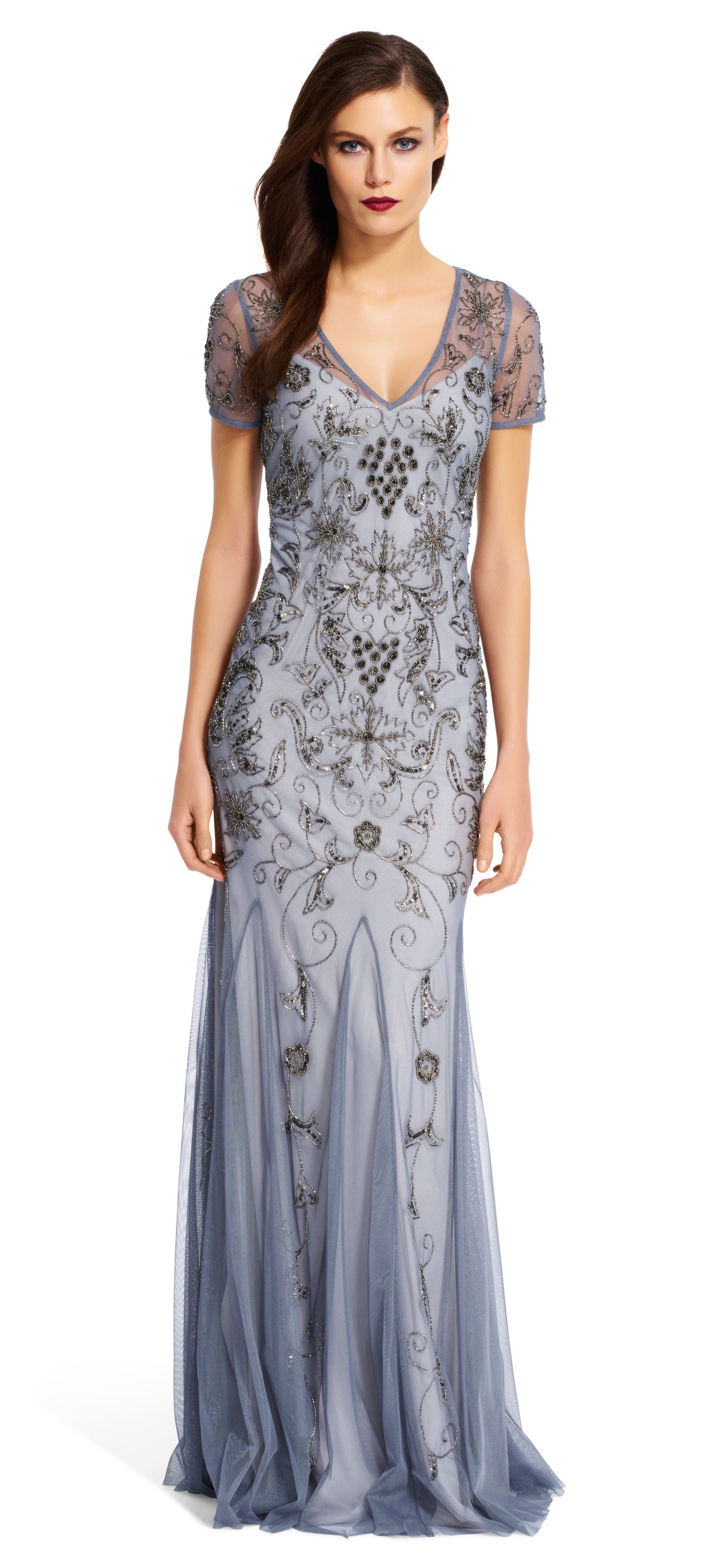 Beaded Mesh Mermaid Gown - Adrianna Papell | Purty Dresses ...