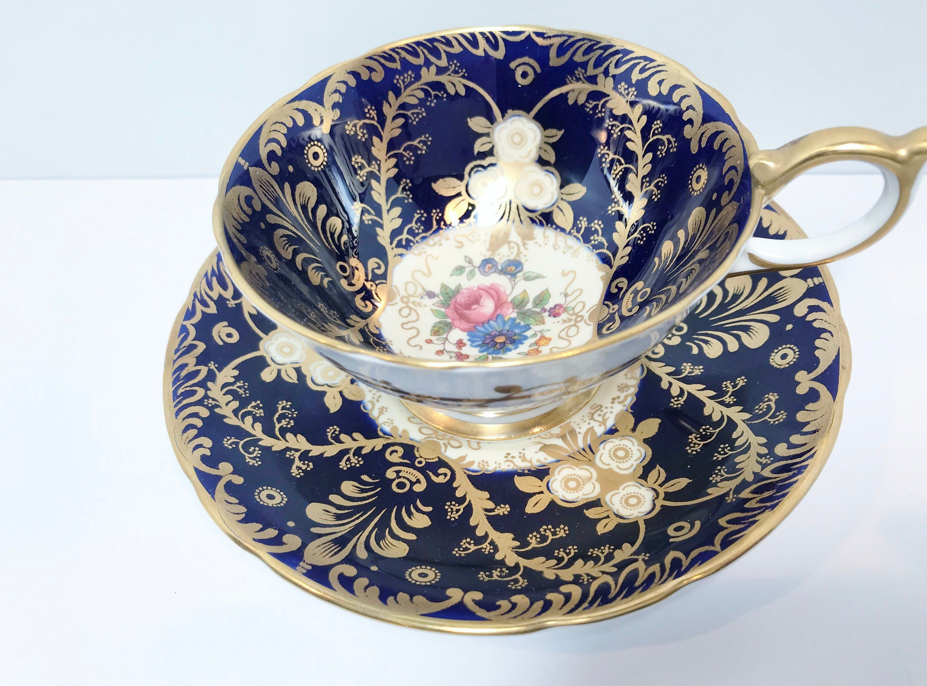 Royalty by Aynsley Tea Cup and Saucer,  Antique Tea Cups Vintage, Floral Tea Cups, Aynsley Cups, Aynsley Blue Royalty, Hand Painted Cup #teacups