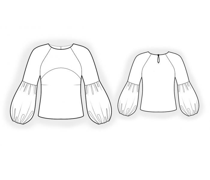 Blouse With Raglan Sleeves - Sewing Pattern #4661 Made-to-measure ...