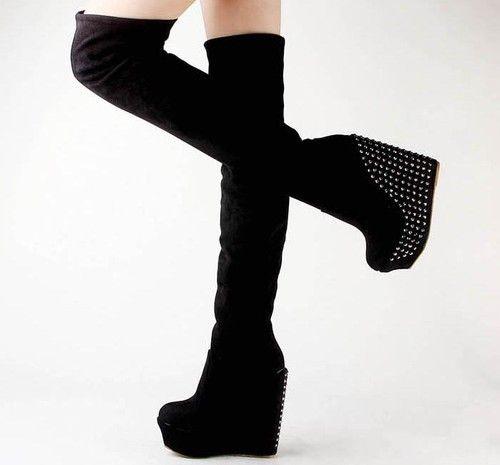 12cd976d6bf Womens Rhinestone Platform Wedges High Heels Over The Knee Boots