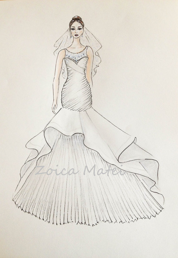 Custom Bride Portrait Original With Veil Drawing Wedding Dress Sketch Paper Anniversary Gift