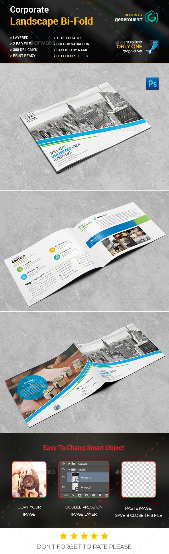 Landscape Bi-Fold Template - Brochure Template PSD. Download here ...