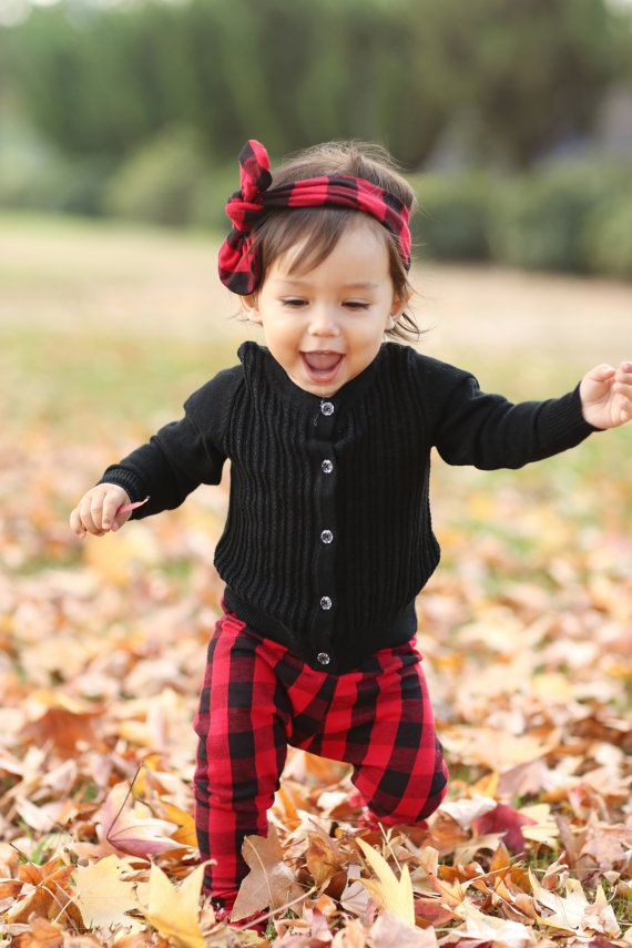 Handmade Red Black Buffalo Check Baby Leggings By