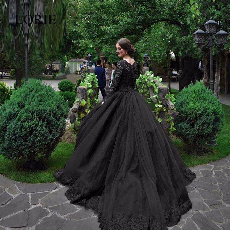 Gothic Black Wedding Dress Ball Gown Style 2017 Luxury Beading ...