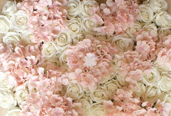 Blush Pink And Cream Rose Hydrangea Floral Backdrop Flower Wall Panel For The Diy Wedding Flower Wall Floral Backdrop Handmade Flowers Paper