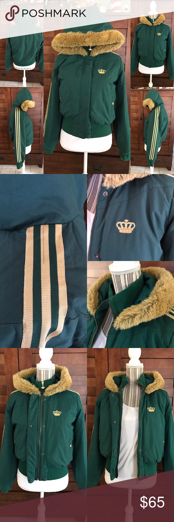 43776db8e7532e Adidas(Respect Me by Missy Elliot)Jacket   beanie Worn a few time . Still  in great shape . Green   Gold . Has some unraveling in the gold adidas  stripes ...