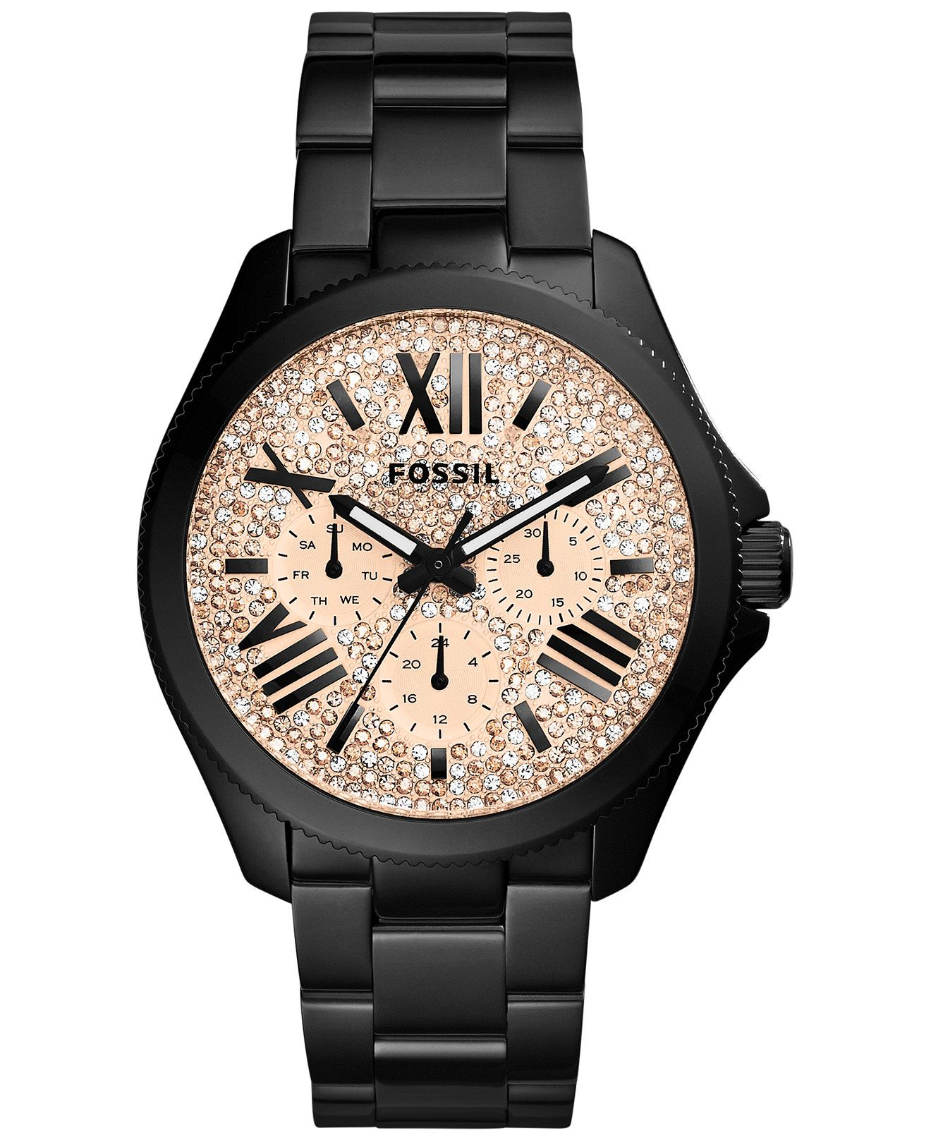 e31568e5a0c7 Fossil Women s Cecile Black Ion-Plated Stainless Steel Bracelet Watch 40mm  AM4593 - Watches - Jewelry   Watches - Macy s