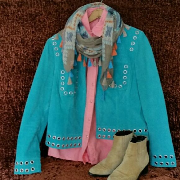"""Cowgirl Turquoise Leather Jacket w/Embellishment A bit more greenish than the photos show, this jacket can be used as cowgirl attire, or work really well as a Boho Chic accent.  The color is western.  The styling is more modern. Measurements taken flat :  Pit to pit  20"""" Shoulder 16"""" Shoulder to cuff 25"""" Length 22"""" Mythology Jackets & Coats"""