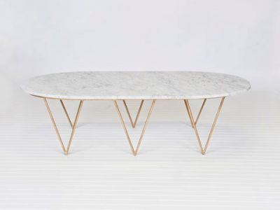 Surf Gold Leaf Coffee Table White Marble