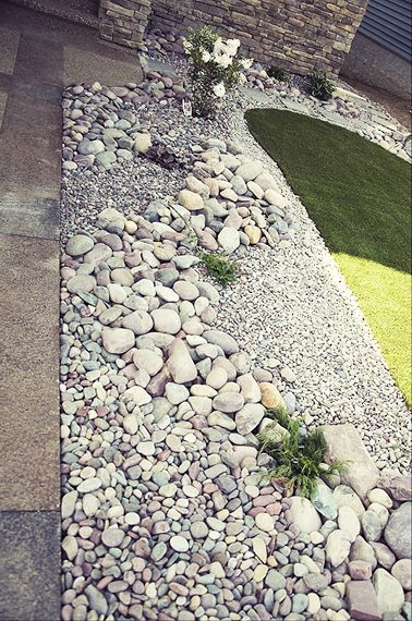 Natural Stone Landscaping Using A Variety Of Sizes And Colors To