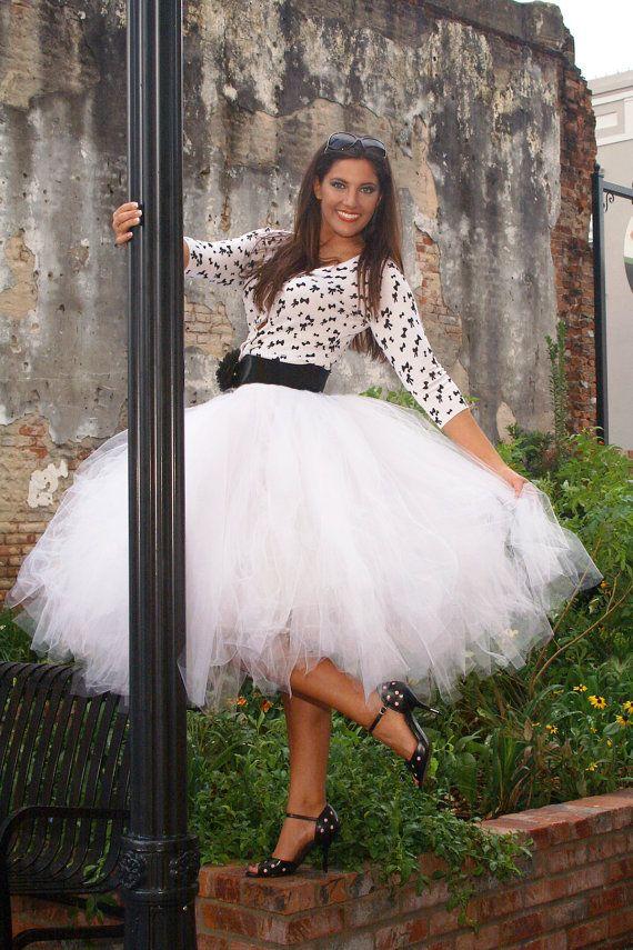 Tea length white tulle tutu style skirt by for Tea length wedding dress tulle skirt