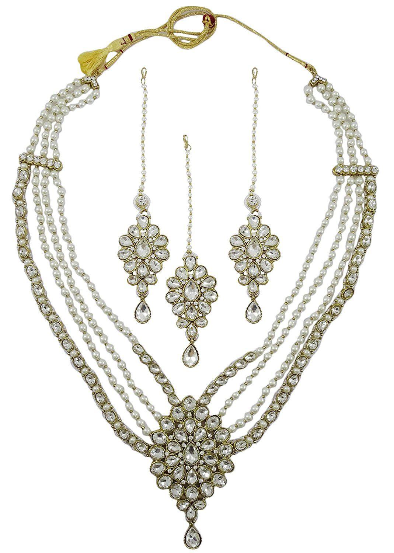 Matra goldtone kundan stone pcs necklace set indian women party