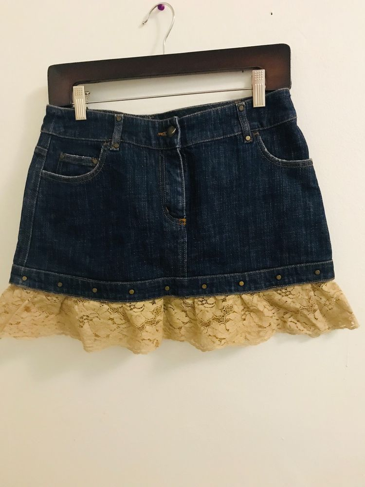 a0affeadf4 VALENTINO denim skirt with a lace frill size 40 (S) #fashion #clothing