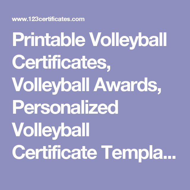 Printable Volleyball Certificates Volleyball Awards Personalized