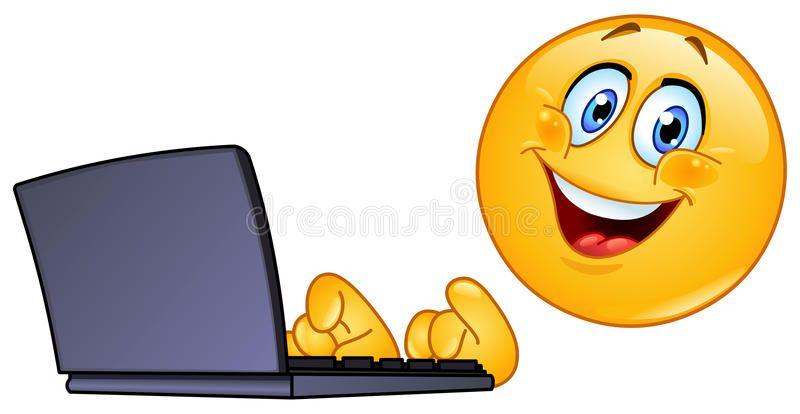 Emoticon con el ordenador libre illustration (con imágenes ...