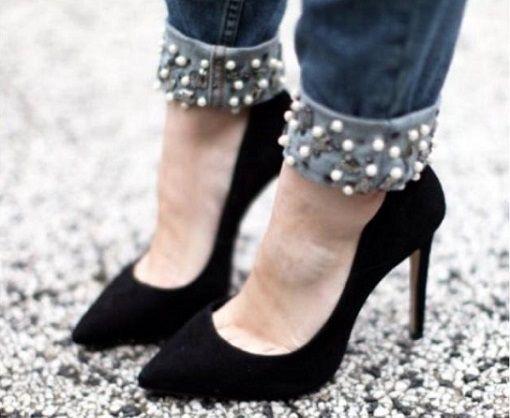 Customizar ropa con perlas diy ropa y complementos pinterest ropa vieja perlas y jeans - Decorar pantalones vaqueros ...