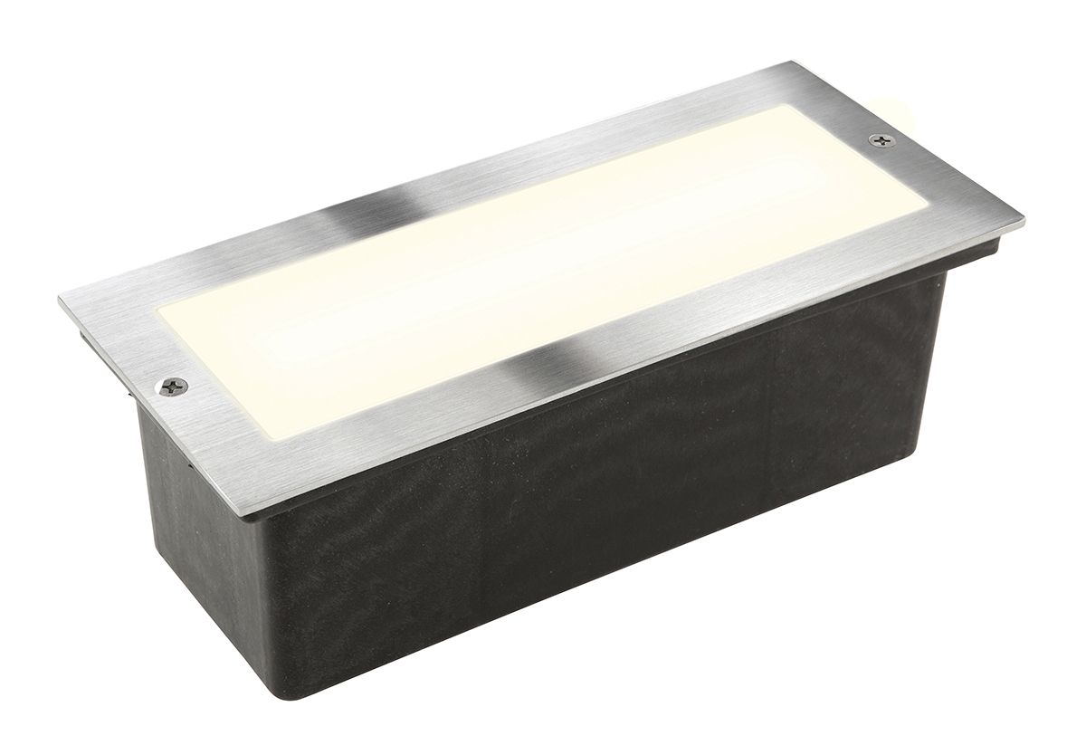 Scotia recessed wall light in stainless steel exterior bunker
