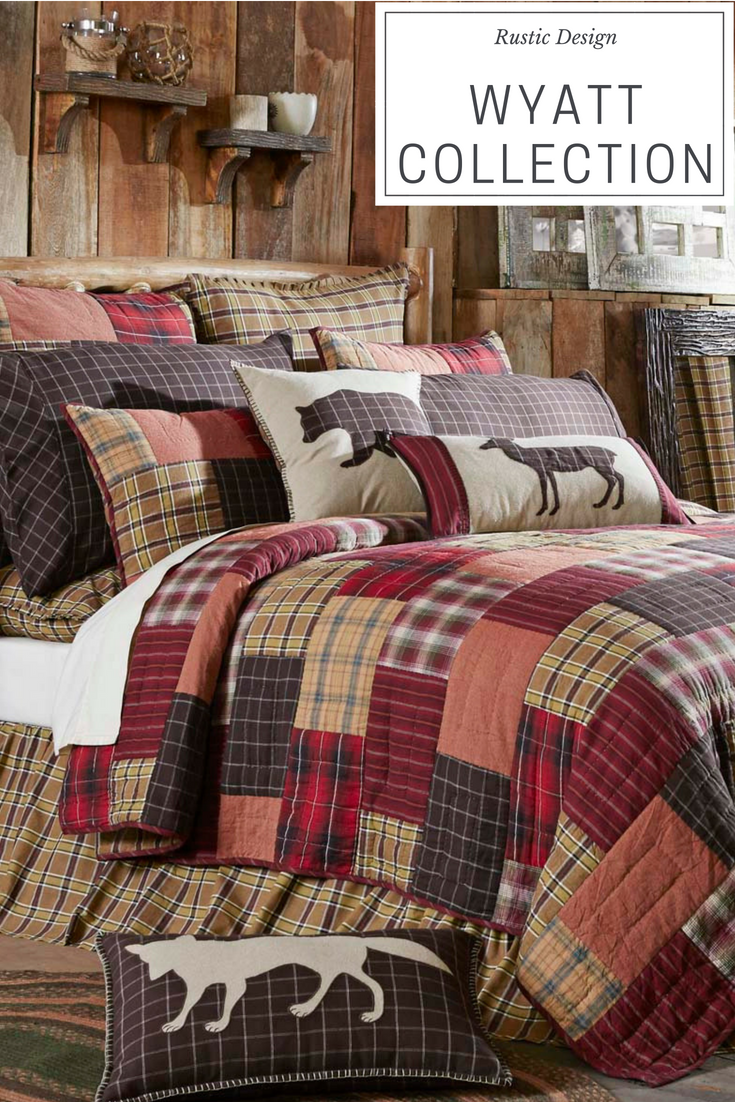 Wyatt Rustic Quilt Collection By Vhc Brands Simply Chic Homes Country Rustic Home Decor Vhc Brands Rusticdeco Lodge Bedding Rustic Bedroom Rustic Bedding