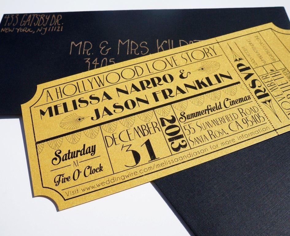 movie ticket stub wedding invitation%0A Wonderful Old Hollywood Art Deco Gold Movie Ticket Wedding Invitation