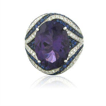 New Asprey 18K White Gold Diamond Amethyst Sapphire Cocktail Ring