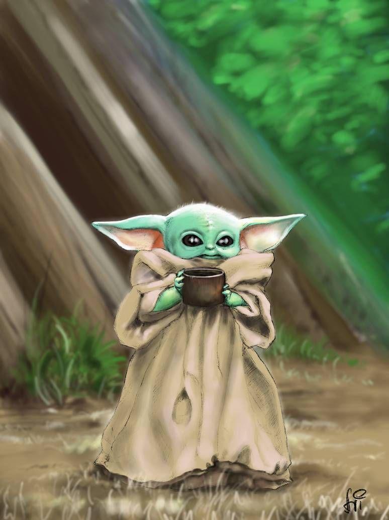 Baby Yoda Yoda Canvas Yoda Art Yoda Drawing