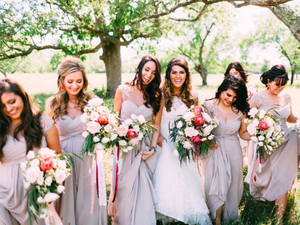 95f2a2b435d Bridesmaids in Neutral! Morilee by Madeline Gardner Style 106 Bridesmaid  Dresses with an illusion neckline and chiffon A-Line silhouette.