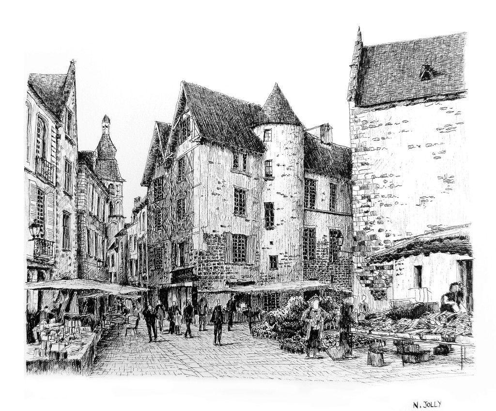 Dessin l 39 encre de chine black ink drawing sarlat - Village dessin ...