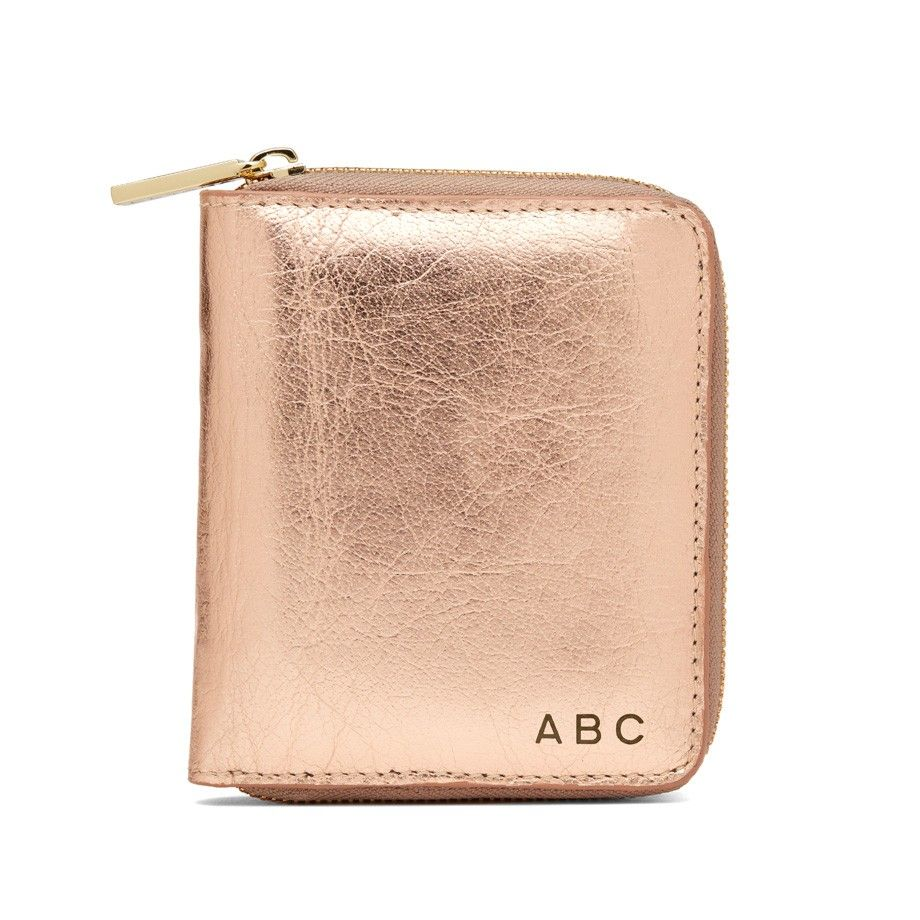 Small Leather Zip Around Wallet Rose Gold