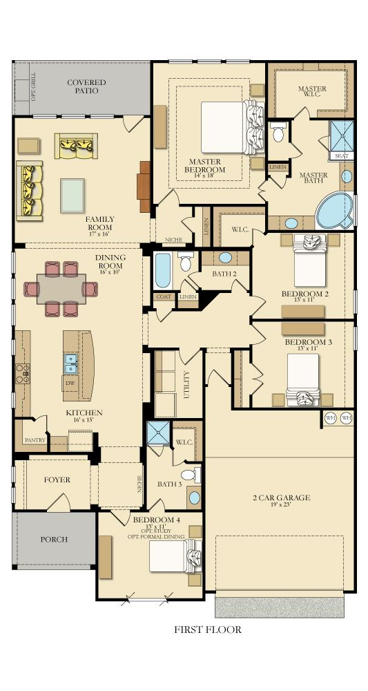 Kershaw New Home Plan In Johnson Ranch Camden Rectangle House Plans New House Plans Narrow House Plans