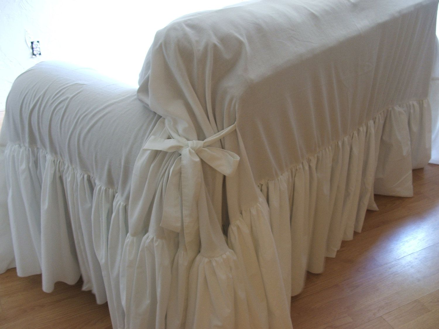 shabby chic sofa slipcover throw via etsy. Black Bedroom Furniture Sets. Home Design Ideas
