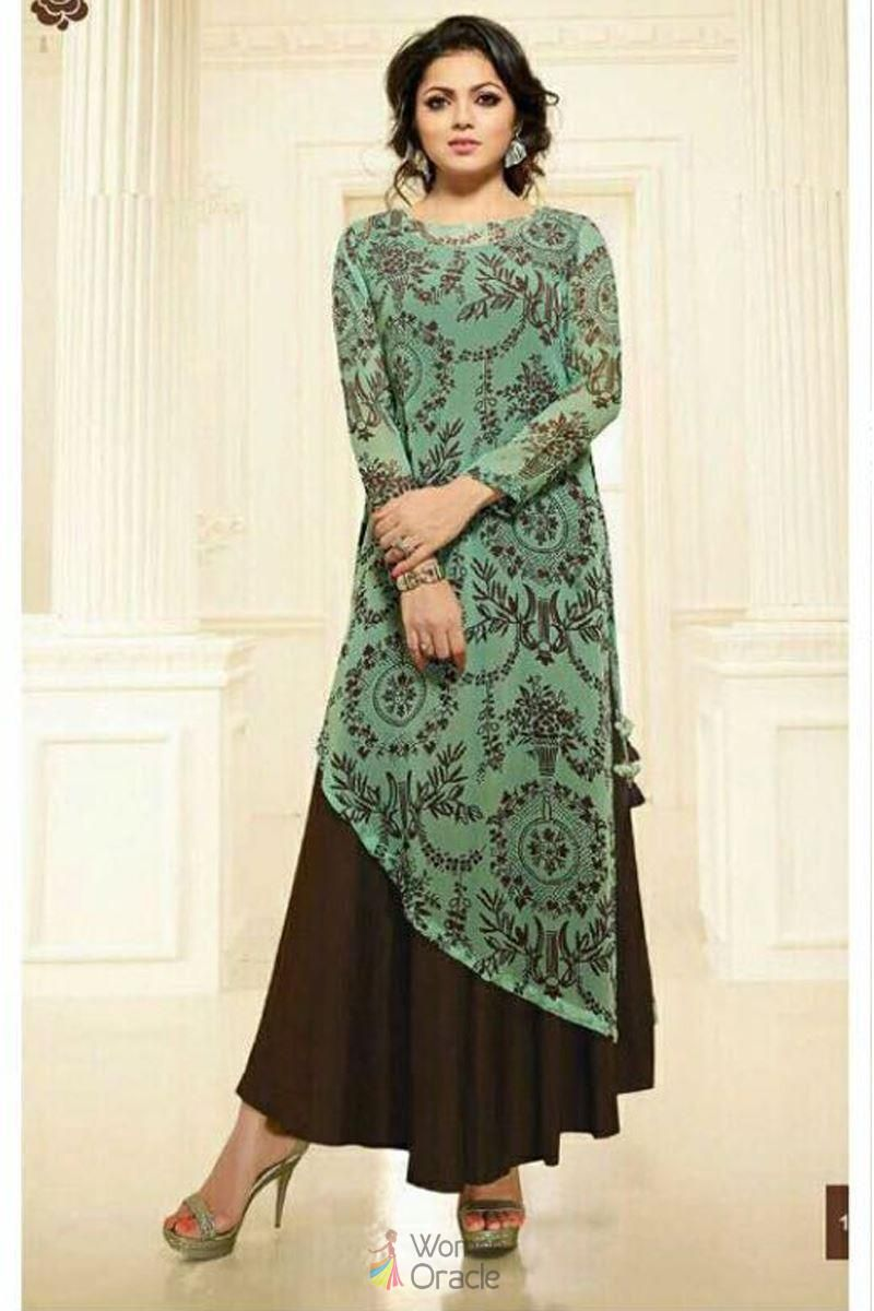 25fa9781bb Bollywood fashionable georgette with printed long kurti | kurtis in ...