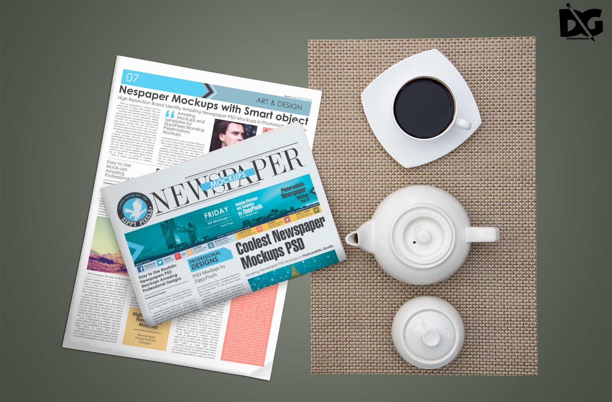 Free Morning Newspaper Coffee Designs Mockup Coffeedesignsmockup Coffeemockup Designsmockup Mockup Pape Logo Design Mockup Design Mockup Free Mockup Design