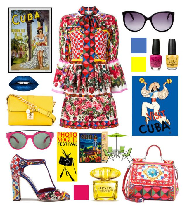 """""""Cuba!"""" by vintagedaisy1 ❤ liked on Polyvore featuring Dolce&Gabbana, Marc Jacobs, Givenchy, OPI, Versace and Vera Bradley"""