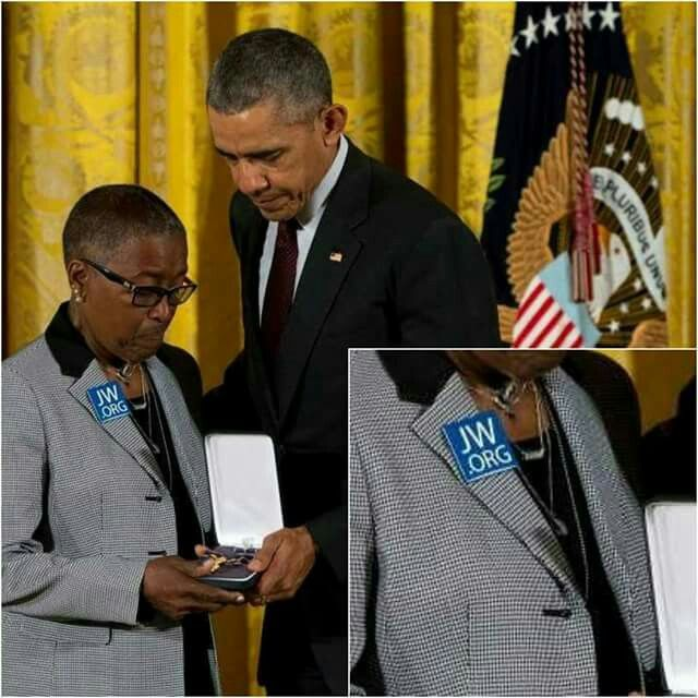 President Obama awarding the medal of honor to a slain policeman's Grandmother, she took advantage of the moment to witness.